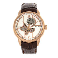 Heritor Automatic Sanford Semi-Skeleton Leather-Band Watch - Silver/Blue
