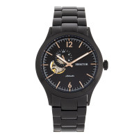 Heritor Automatic Antoine Semi-Skeleton Leather-Band Watch - Black/Charcoal