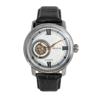 Heritor Automatic Maxim Semi-Skeleton Leather-Band Watch - Silver/Blue