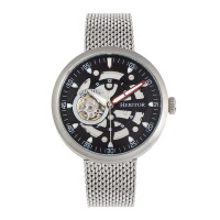 Heritor Automatic Jasper Skeleton Bracelet Watch - Black