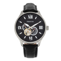Heritor Automatic Harding Semi-Skeleton Leather-Band Watch - Black/Blue
