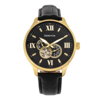 Heritor Automatic Harding Semi-Skeleton Leather-Band Watch - Black
