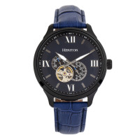 Heritor Automatic Harding Semi-Skeleton Leather-Band Watch - Silver/Black
