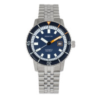 Heritor Automatic Edgard Bracelet Diver's Watch w/Date - Light Blue/Navy