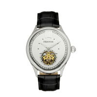 Heritor Automatic Hayward Semi-Skeleton Leather-Band Watch - Gold