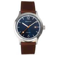 Heritor Automatic Becker Leather-Band Watch w/Date - Silver