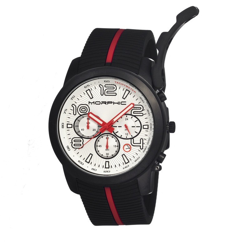 Morphic M22 Series Chronograph Men's Watch w/ Date - Black/White MPH2204