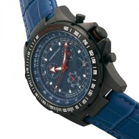 Morphic M36 Series Leather-Band Chronograph Watch - Black/Blue MPH3606