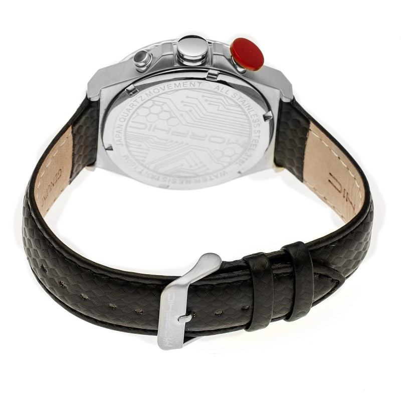 Morphic M39 Series Leather-Band Chronograph Watch - Silver/Black MPH3904