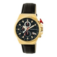 Morphic M39 Series Leather-Band Chronograph Watch - Gold/Black MPH3906