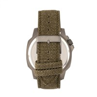Morphic M41 Series Canvas-Overlaid Leather-Band Men's Watch - Olive/Grey MPH4103