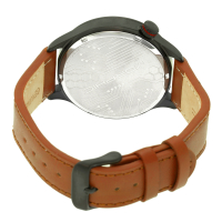 Morphic M44 Series Dual-Time Leather-Band Watch w/ Retrograde Date - Black/Green MPH4406