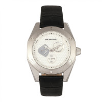Morphic M46 Series Leather-Band Men's Watch w/Date - Silver/Black MPH4602