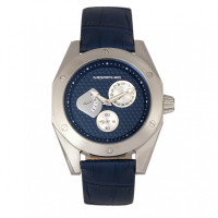 Morphic M46 Series Leather-Band Men's Watch w/Date - Silver/Navy MPH4603