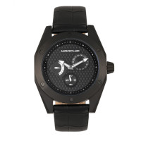 Morphic M46 Series Leather-Band Men's Watch w/Date - Black/Charcoal MPH4605