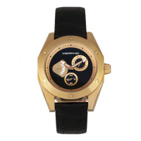 Morphic M46 Series Leather-Band Men's Watch w/Date - Gold/Black MPH4606