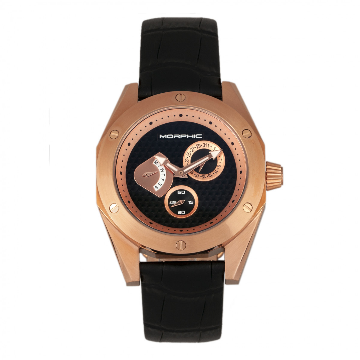 Wdate Leather Men's Watch Rose M46 Goldblack Morphic Band Series oWQCxBerd