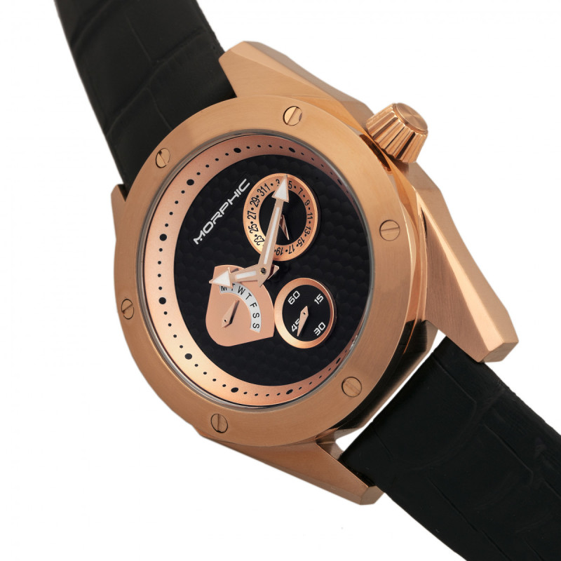 Morphic M46 Series Leather-Band Men's Watch w/Date - Rose Gold/Black MPH4607