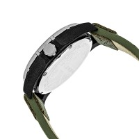 Morphic M47 Series Canvas-Overlaid Leather-Band Watch w/ Date - Green/Olive MPH4702