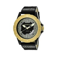 Morphic M47 Series Canvas-Overlaid Leather-Band Watch w/ Date - Black MPH4706