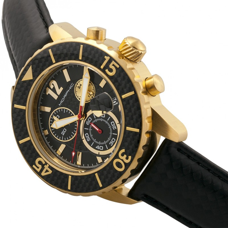 Morphic M51 Series Chronograph Leather-Band Watch w/Date - Gold/Black MPH5102