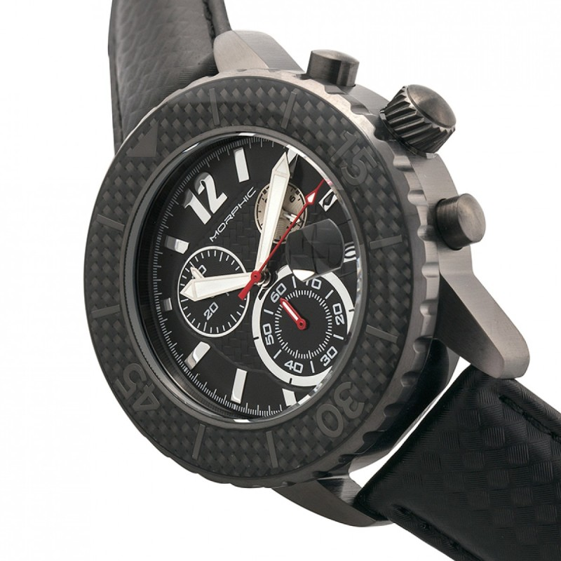 Morphic M51 Series Chronograph Leather-Band Watch w/Date - Gunmetal/Grey MPH5106
