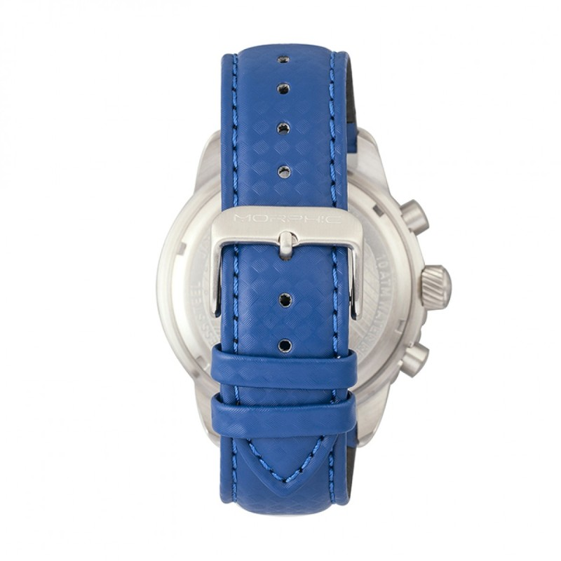 Morphic M51 Series Chronograph Leather-Band Watch w/Date - Silver/Blue MPH5107