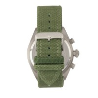Morphic M53 Series Chronograph Fiber-Weaved Leather-Band Watch w/Date - Silver/Olive MPH5302