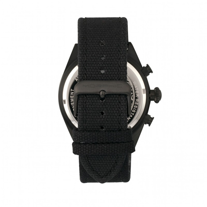 Morphic M53 Series Chronograph Fiber-Weaved Leather-Band Watch w/Date - Black/Silver MPH5304