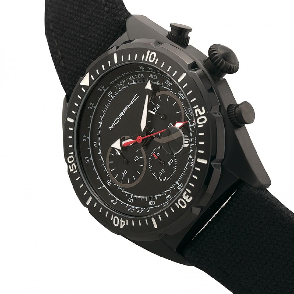 62f62c131 Morphic M53 Series Chronograph Fiber-Weaved Leather-Band Watch w/Date -  Black