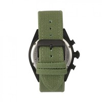 Morphic M53 Series Chronograph Fiber-Weaved Leather-Band Watch w/Date - Black/Olive MPH5306