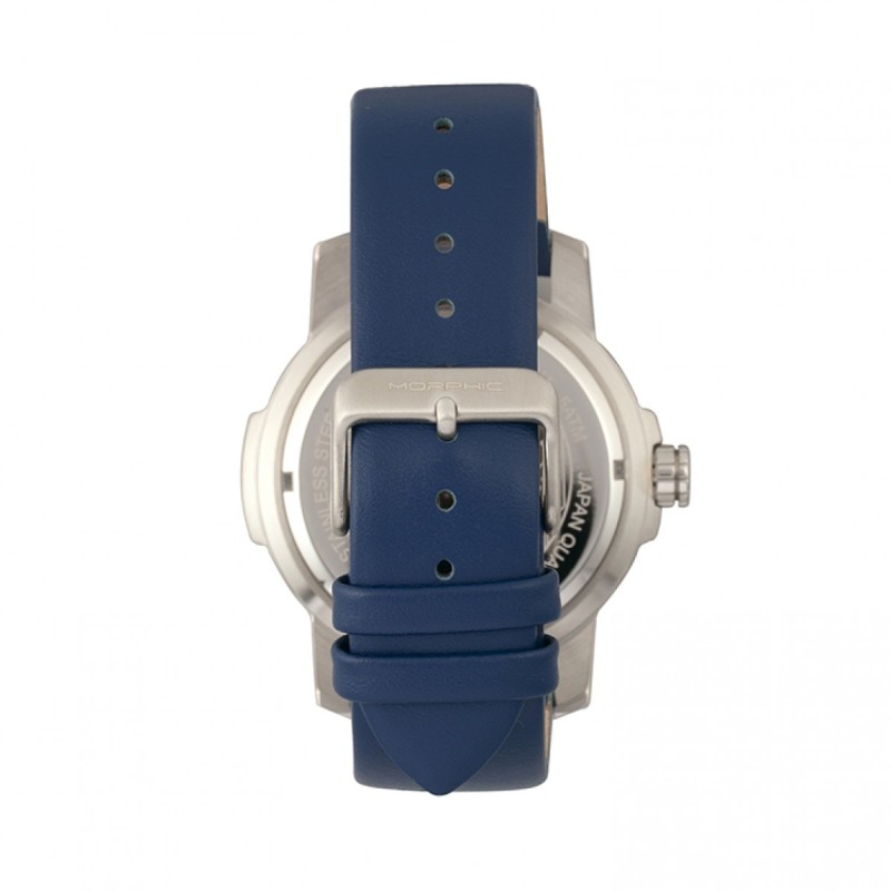 Morphic M54 Series Leather-Band Chronograph Watch - Silver/Navy MPH5402