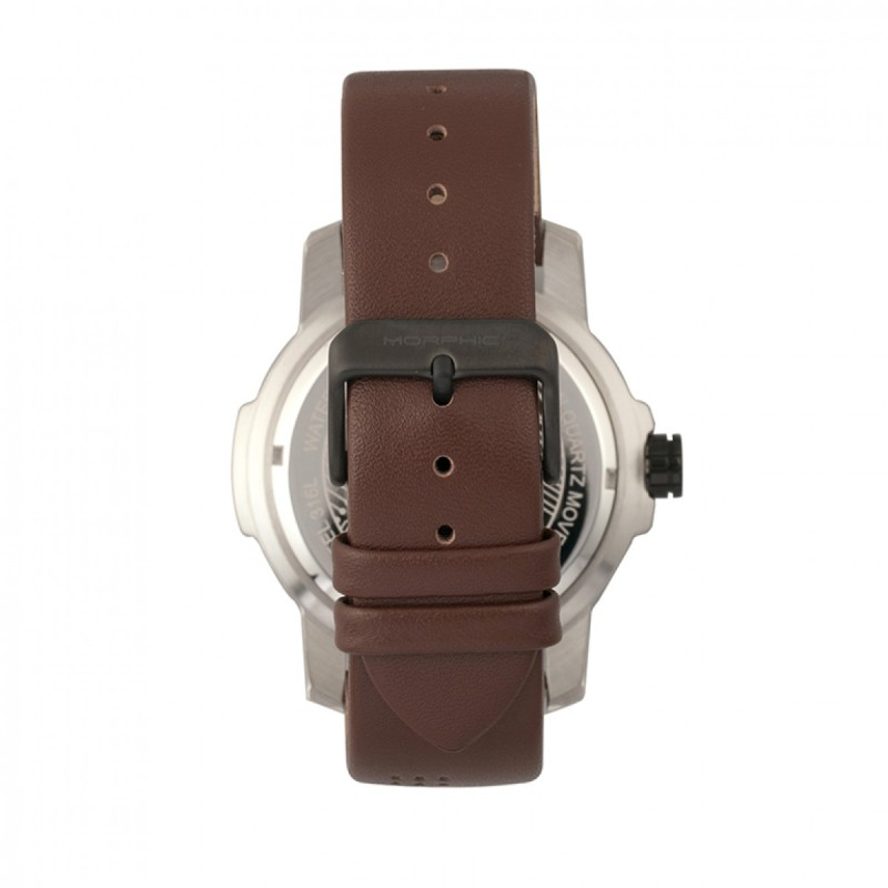 Morphic M54 Series Leather-Band Chronograph Watch - Silver/Brown MPH5404