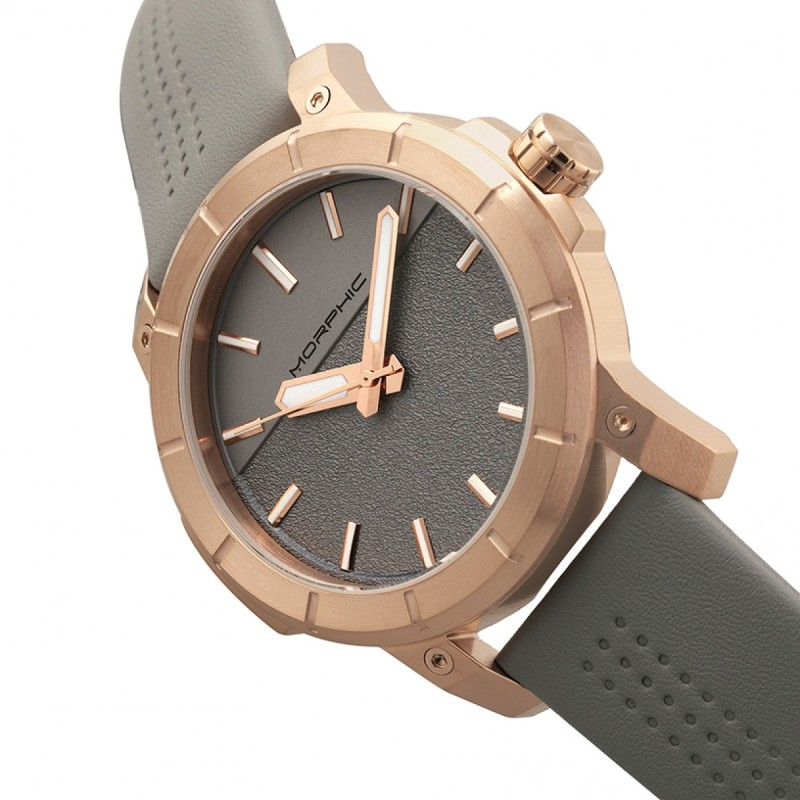 Morphic M54 Series Leather-Band Chronograph Watch - Rose Gold/Grey MPH5406