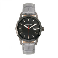 Morphic M56 Series Leather-Band Watch w/Date - Silver/Black MPH5601