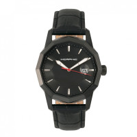 Morphic M56 Series Leather-Band Watch w/Date - Rose Gold/Black MPH5604