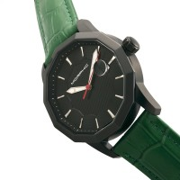Morphic M56 Series Leather-Band Watch w/Date - Black/Green MPH5607