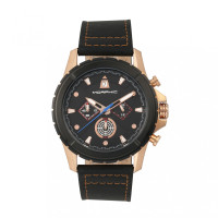 Morphic M57 Series Chronograph Leather-Band Watch - Rose Gold/Black MPH5705