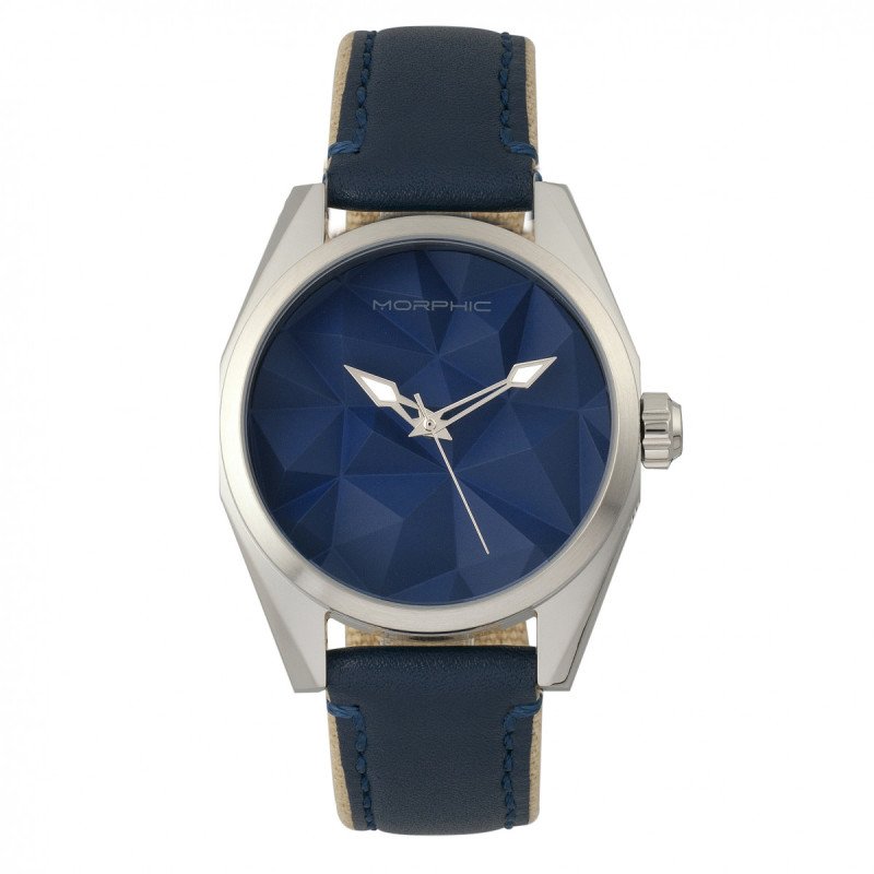 Morphic M59 Series Leather-Overlaid Canvas-Band Watch - Silver/Blue MPH5903