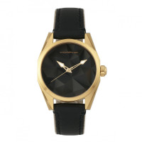 Morphic M59 Series Leather-Overlaid Canvas-Band Watch - Gold/Black MPH5904