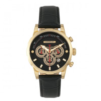 Morphic M60 Series Chronograph Leather-Band Watch w/Date - Gold/Black MPH6003