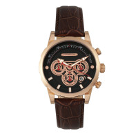Morphic M60 Series Chronograph Leather-Band Watch w/Date - Rose Gold/Brown MPH6004