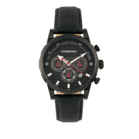 Morphic M60 Series Chronograph Leather-Band Watch w/Date - Black MPH6005