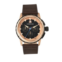 Morphic M61 Series Chronograph Leather-Band Watch w/Date - Rose Gold/Dark Brown MPH6105