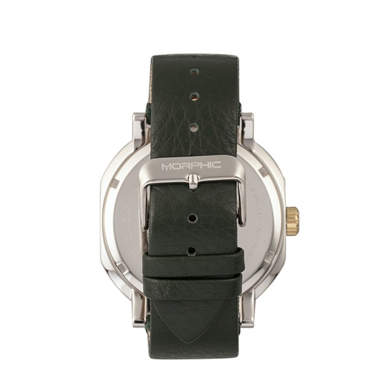 Morphic M62 Series Leather-Band Watch w/Day/Date - Gold/Green MPH6205