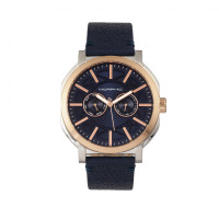 Morphic M62 Series Leather-Band Watch w/Day/Date - Rose Gold/Navy MPH6206