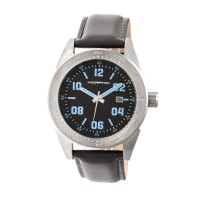 Morphic M63 Series Leather-Band Watch w/Date - Grey/Brown MPH6305
