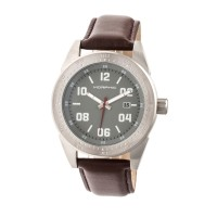 Morphic M63 Series Leather-Band Watch w/Date - Blue/Brown MPH6306