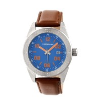 Morphic M63 Series Leather-Band Watch w/Date - Blue/Black MPH6302