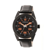 Morphic M63 Series Leather-Band Watch w/Date - Black/Brown MPH6307